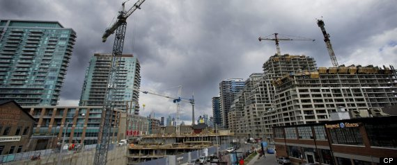 Workers are seen at a condo development in the Liberty Villiage area in Toronto, Ont. Wednesday, April 11/2012.(Photo by Kevin Van Paassen/The Globe and Mail)