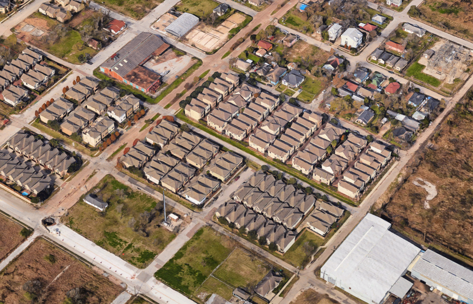 A cluster of homes without yards.
