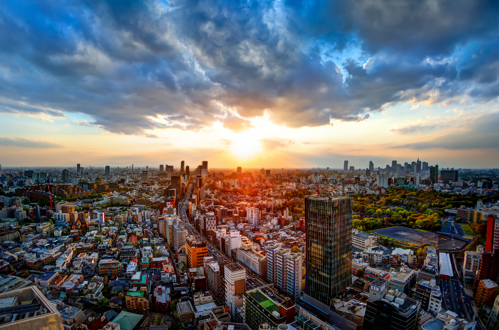The Tokyo skyline at sunset
